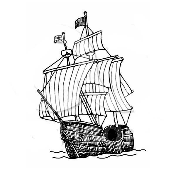 Pirate Ship, : 15th Century Carrack Pirate Ship Coloring Page
