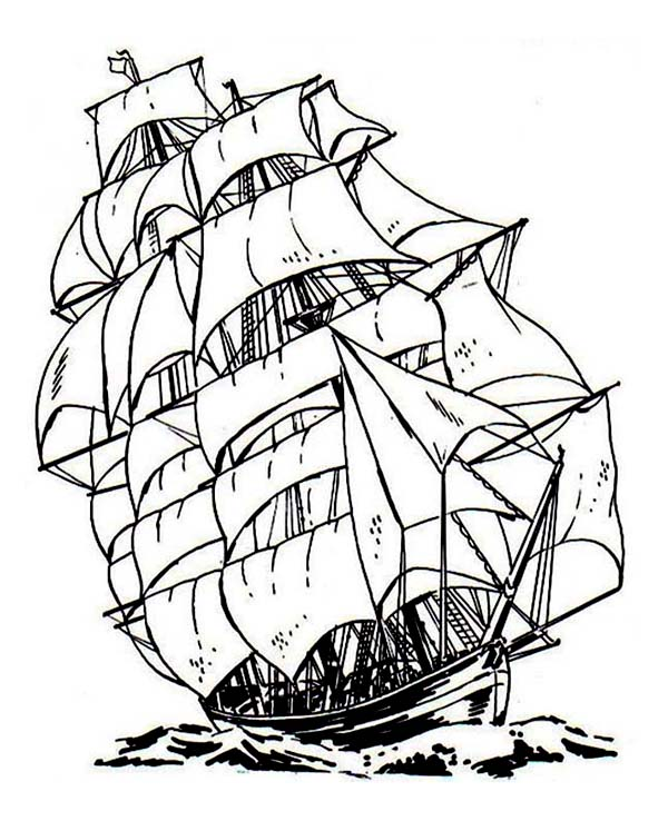 Pirate Ship, : 17th Century Dutch Flute Pirate Ship Coloring Page