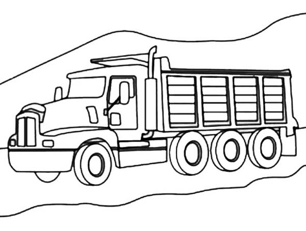 Trucks, : 3-axle-dump-truck-on-mountain-road-coloring-page.jpg