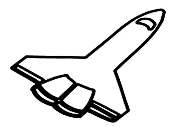 Space Shuttle, : A 2D Drawing of Space Shuttle Coloring Page