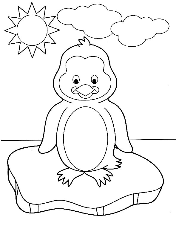 Penguins, : A Baby Penguin on the Ice Block During Sunny Day Coloring Page