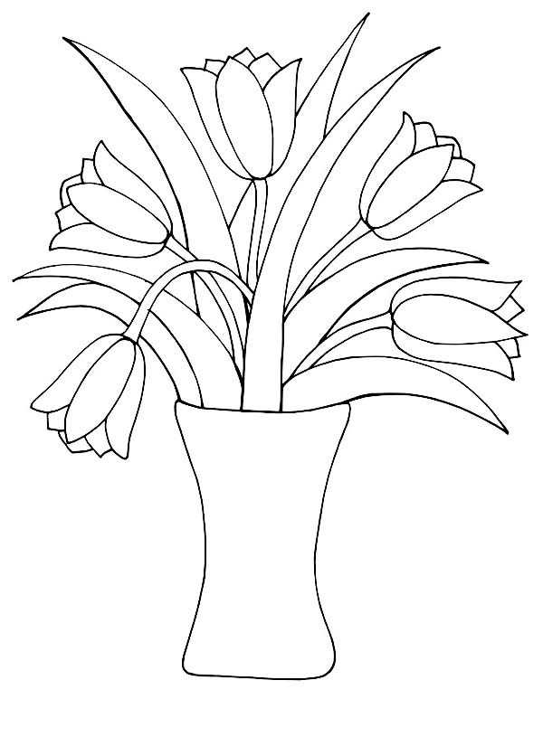 Tulips, : A Beautiful Tulips in a Vase for Decor Coloring Page