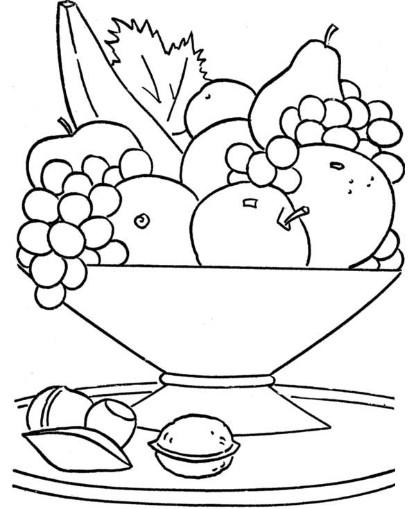Fruits and Vegetables, : A Big Bowl of Tasty Fruits Coloring Page
