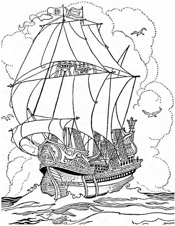 Pirate Ship, : A Big Pirate Ship Galleon Coloring Page