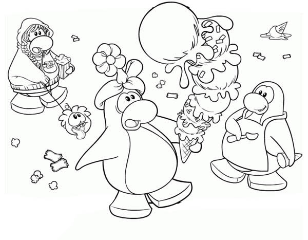 Penguins, : A Birthday Penguin Get a Huge Ice Cream Coloring Page