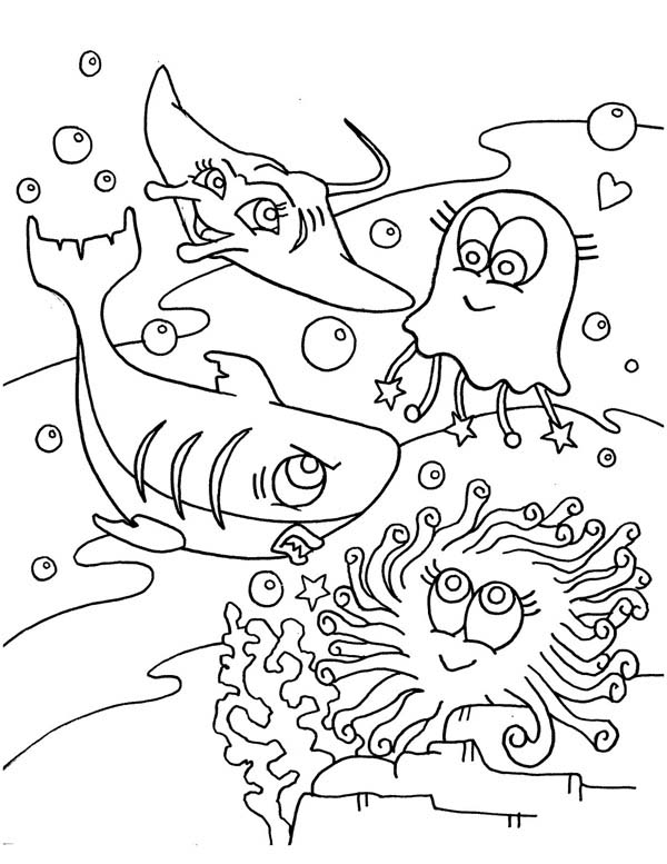 Sharks, : A Blue Shark and Other Sea Creatures Coloring Page