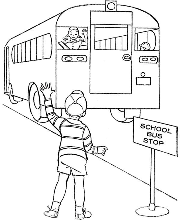 School Bus, : A Boy Waiting at School Bus Stop Coloring Page