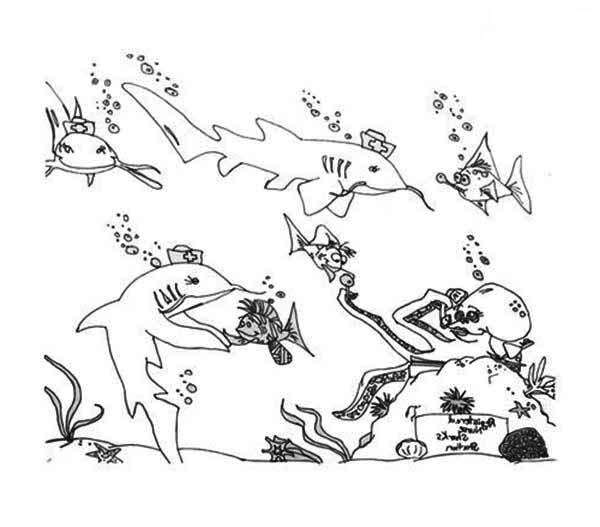 Sharks, : A Cartoon Illustration of Nurse Shark Coloring Page