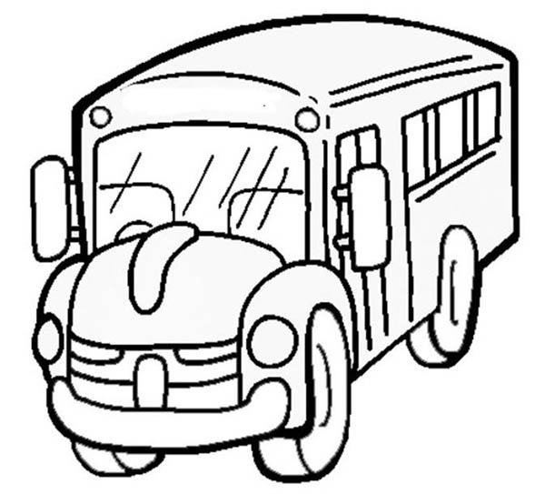 School Bus, : A Classic School Bus from Angle View Coloring Page