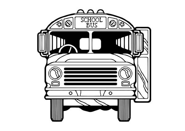 School Bus, : A Classic US School Bus from Front View Coloring Page