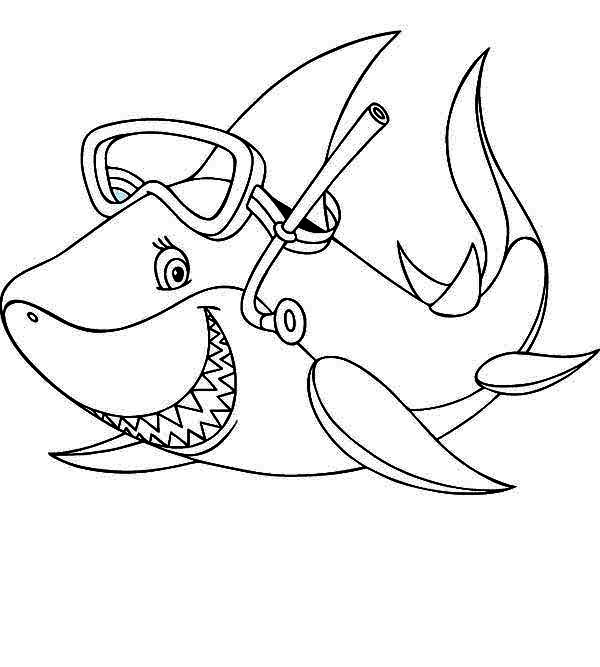 Sharks, : A Cool Shark with Snorkeling Gear Coloring Page