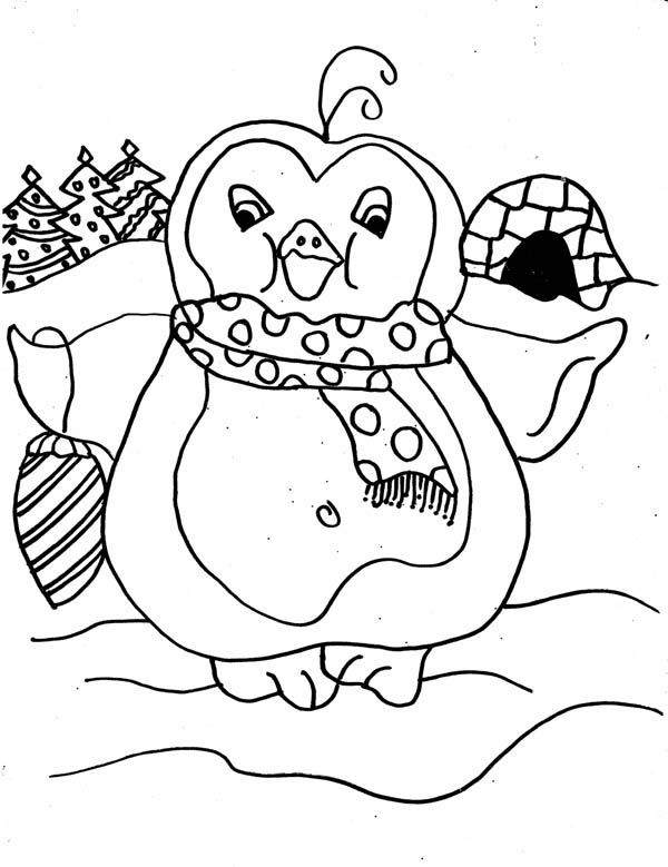 Penguins, : A Cute Girly Penguin Go on Shopping Coloring Page