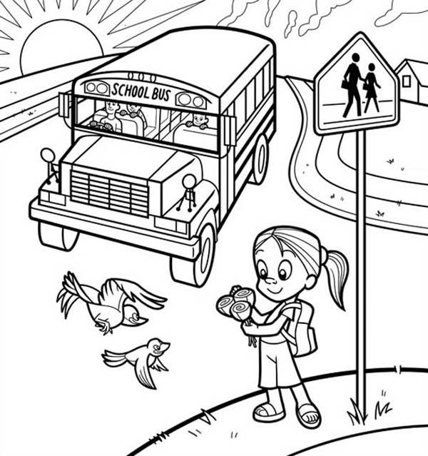 School Bus, : A Cute Little Girl Waiting for School Bus Coloring Page