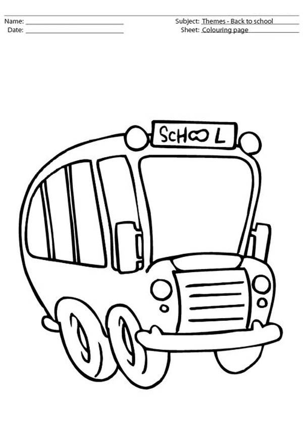 School Bus, : A Cute School Bus on Its Duty Coloring Page