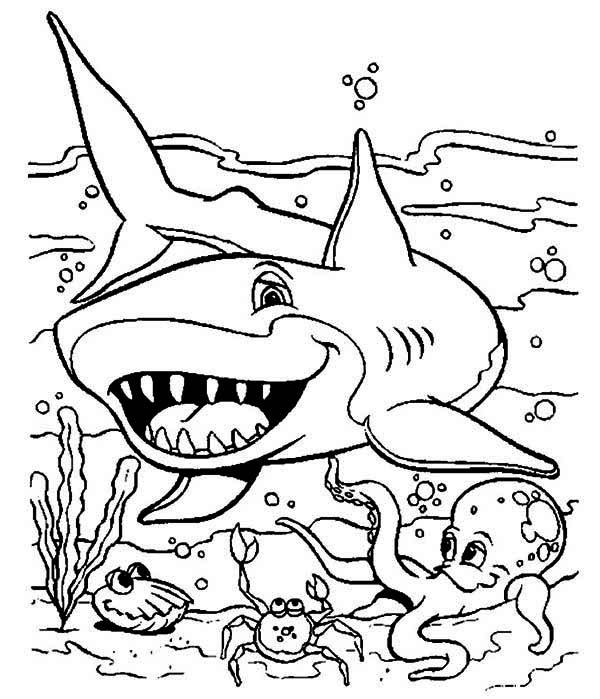 a friendly shark and other sea animals on seabed coloring page