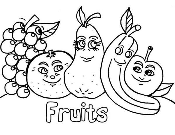 Fruits and Vegetables, : A Friendship of Fruits Coloring Page