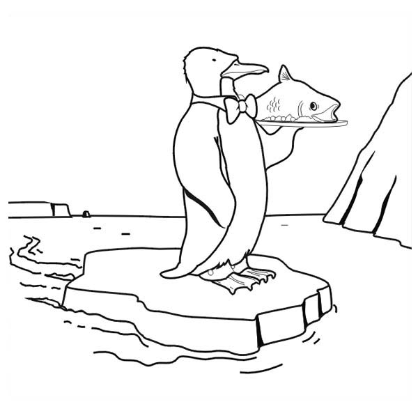 Penguins, : A Funny Penguin Act as a Waiter Coloring Page