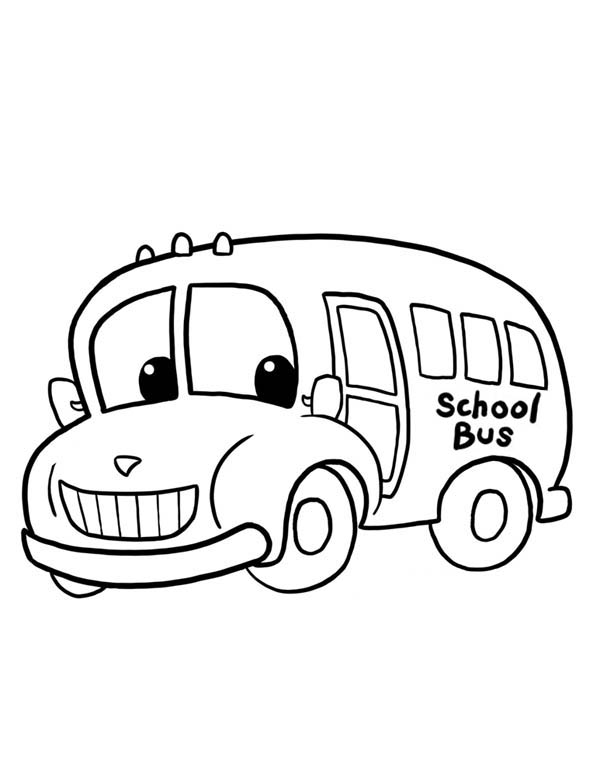 School Bus, : A Funny School Bus Ready to Work Coloring Page