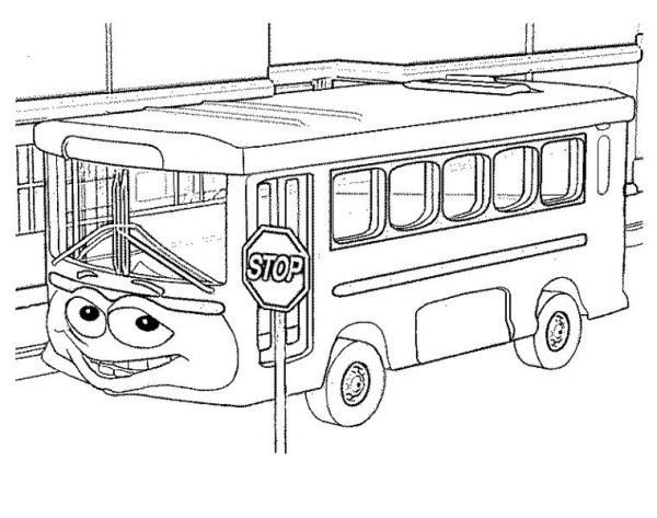 School Bus, : A Funny School Bus at the Stop Sign Coloring Page