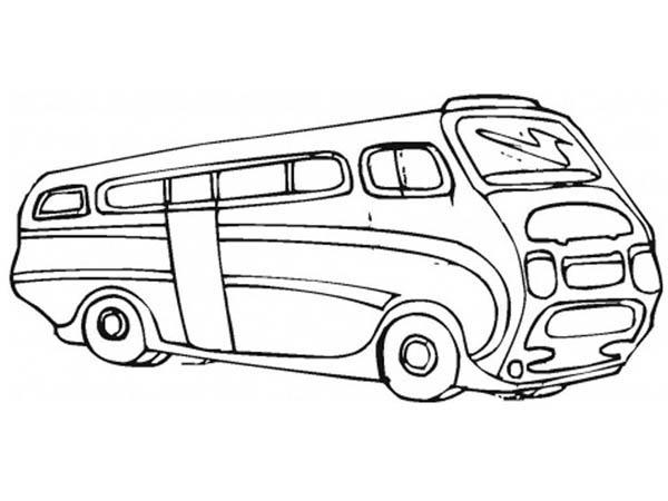 School Bus, : A Futuristic Illustration of School Bus Coloring Page