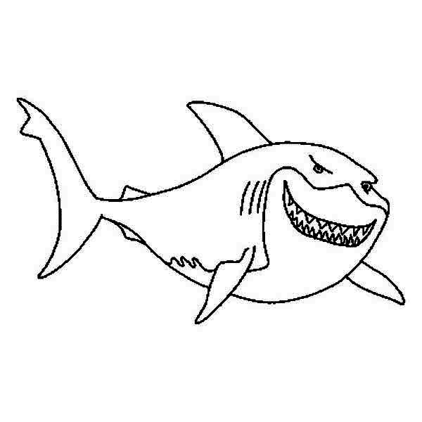 Sharks, : A Great White Shark on Shark Tale Coloring Page