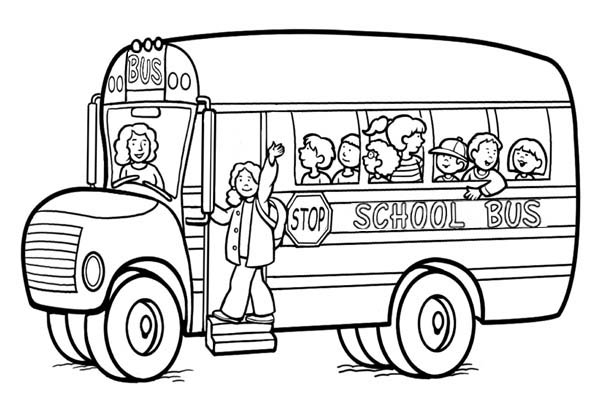 School Bus, : A Happy Moment with a School Bus Coloring Page