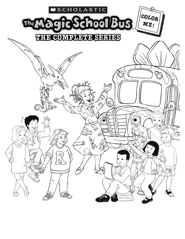 School Bus, : A Happy Moment with the Magic School Bus Coloring Page