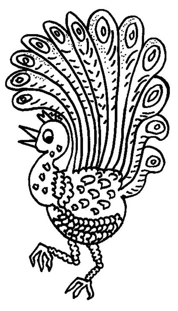Peacock, : A Happy Peacock Dancing Around Coloring Page