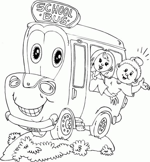 School Bus, : A Happy School Ride with Mr School Bus Coloring Page
