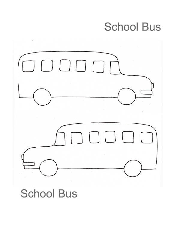 School Bus, : A Kids Drawing of School Bus Coloring Page