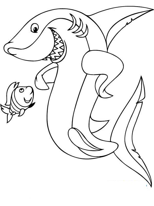 Sharks, : A Mighty Shark and His Tiny Little Friend Coloring Page