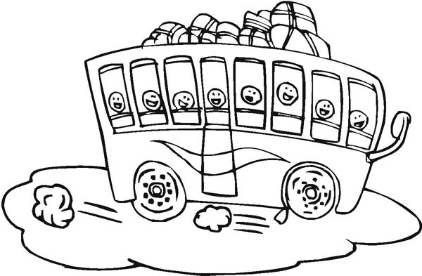 School Bus, : A Packed School Bus for Field Trip Coloring Page