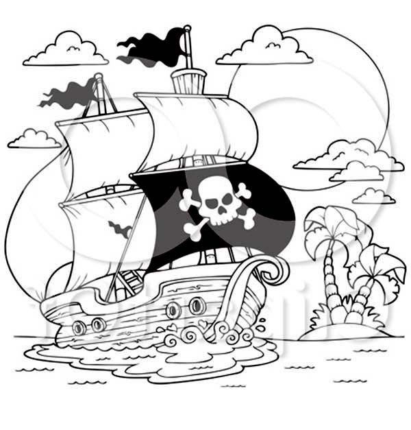 Pirate Ship, : A Pirate Ship Near the Shore Coloring Page