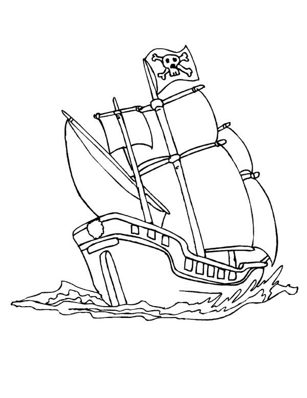 Pirate Ship, : A Pirate Ship Schooner in the Wave Coloring Page