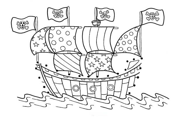 Pirate Ship, : A Pirate Ship with Cheerful Sails Coloring Page