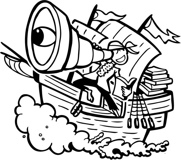 Pirate Ship, : A Pirate with Giant Spyglass on the Ship Deck Coloring Page