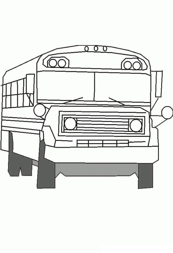 School Bus, : A Realistic Lineart Drawing of School Bus Coloring Page