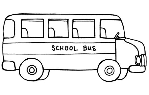 School Bus, : A School Bus in School Parking Lot Coloring Page