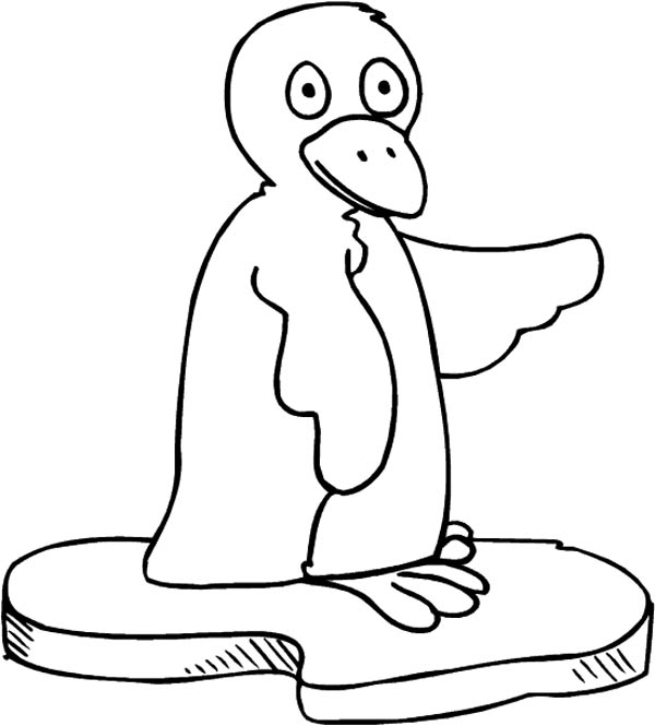 Penguins, : A Silly Penguin Sitting on a Block of Ice Coloring Page