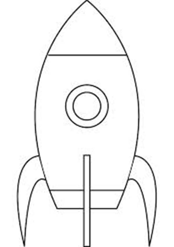 Space Shuttle, : A Simple Drawing of Moon Rocket Coloring Page