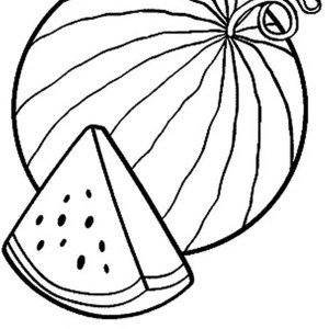 slice of fresh watermelon coloring page - Slice Watermelon Coloring Page