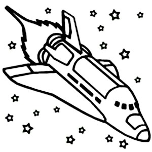a space shuttle ignite the booster coloring page
