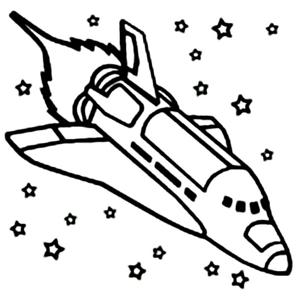 Space Shuttle, : A Space Shuttle Ignite the Booster Coloring Page