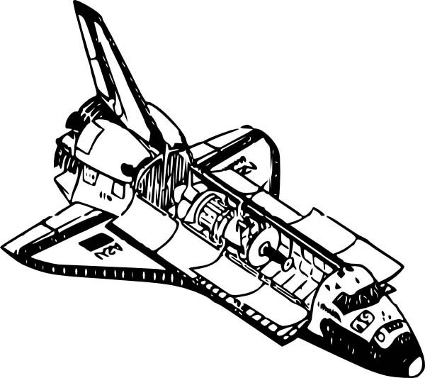 Space Shuttle, : A Space Shuttle with Cargo Doors Opened Coloring Page