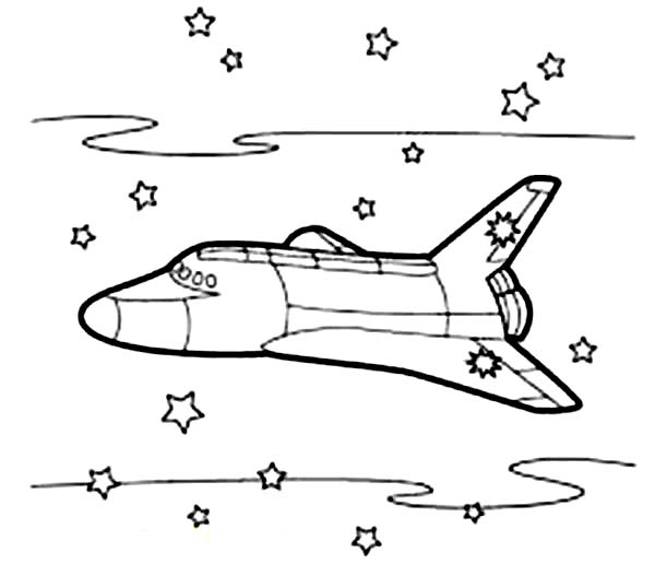 Space Shuttle, : A Space Shuttle with Many Stars in the Background Coloring Page