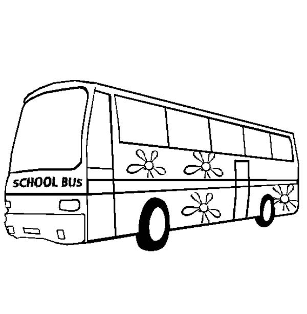 School Bus, : A Sweet School Bus with Flower Decoration Coloring Page