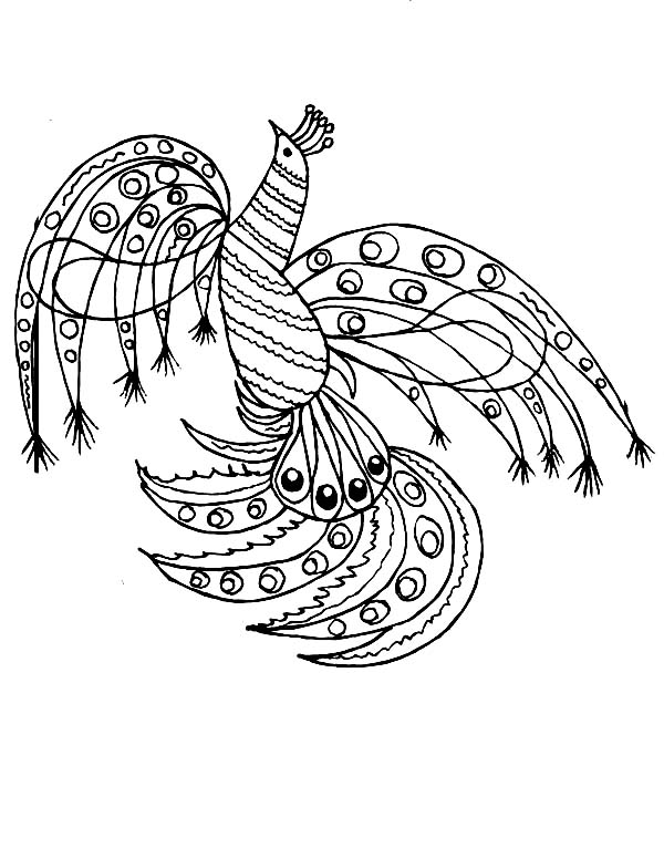 Peacock, : A Wonderful Peacock Art Graphic Coloring Page