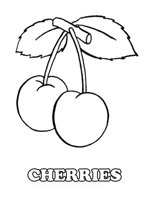 Fruits and Vegetables, : A pair of Tasty Cherries Fruit Coloring Page