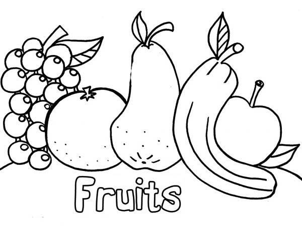 Fruits and Vegetables, : All Kind of Fresh Fruits After Dinner Coloring Page