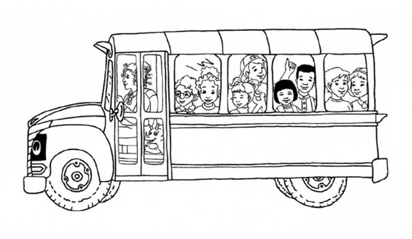 School Bus, : All the Students Inside the Magic School Bus Coloring Page